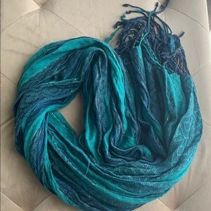 Teal & navy scarf with gold shimmer + tassle ends